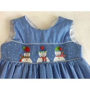 Other - 3T Snowman Smocked Dress Blue Checks Jumper Girls